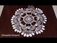 simple and easy rangoli design sankranthi muggulu pongal rangolis free hand kolams - YouTube