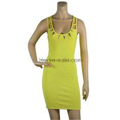 Herve Leger Yellow U-neck Metallic Helena Fashion HL560Y