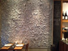Absolutely love this wall of broken dishes at Cava Restaurant, It would make a great Tile Stores, Stone Tiles, Porcelain Tile, Tile Design, Backsplash, Natural Stones, Toronto, Mosaic, Artwork Ideas