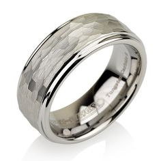 Bridal Wedding Bands Fancy Bands Stainless Steel 8mm Black IP-plated Brushed and Polished Band Size 10