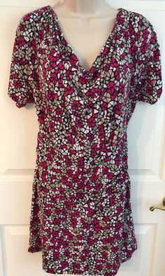 VERTIGO PARIS Small Dress Tunic Jersey Knit Ruched Side Drape Neck Comfort!  | eBay