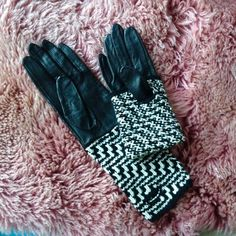 Anthropologie knit leather gloves Brand new black leather gloves with knit wrists. The knit portion can be worn folded up or down. Size is small. Anthropologie Accessories Gloves & Mittens