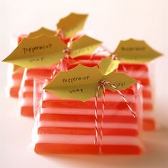 Looking for some good, clean fun? Try making these colorful, fragrant soaps. You already have most of the ingredients in your kitchen or garden. Because of their fresh ingredients, some of these soaps have a shelf life of several weeks, so plan to use them soon after making them. (But with soaps this appealing, that will hardly be a problem.) Use our easy wrapping ideas to give the soaps as gifts, or just add a splash of color to your hand-washing routine.