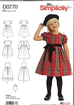 Simplicity 8025 D0771 Girls Dress Fabric Variations and Bolero Party Sewing