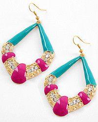 Fuchsia and Teal Rhinestone #Earrings $10  #jewelry