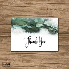 Floral Thank You Card, Baby Shower Thank You Card, Bridal Shower Thank You Card - watercolor washes greenery woodland modern - Amelia by DIVart on Etsy