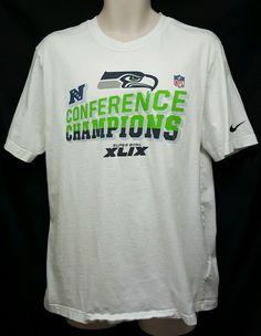 Nike Seattle Seahawks NFC Champs XLIX Superbowl 49 NFL white t-shirt SZ L #Nike…