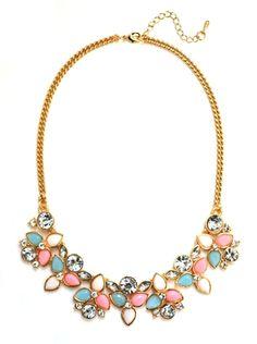 #DaisyGem   Pink Mint Green Ivory White Jeweled Rhinestone Crystal Flower Pendant Beaded Statement Necklace