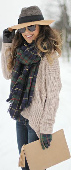 plaid scarf chunky sweater and hat