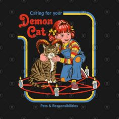 Caring For Your Demon Cat Graphic Hoodie by Steven Rhodes - Unisex Pullover White - LARGE - Front Print - Pullover Just Kids, Just For You, Framed Art Prints, Canvas Prints, Bizarre Art, Arte Horror, Cat Stickers, Laptop Stickers, Illustration Art