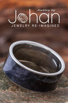 Jewelry by Johan's wedding rings are crafted with beautiful materials like black box elder burl. #JewelrybyJohan