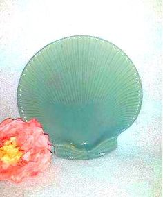 Vintage Jade Green Sea Shell Plate, Seafoam Clam Shell Plate, Candle Holder Plate, Trinket Dish, Decorative Shell Plate, Tropical, Beachside by JunkYardBlonde on Etsy #clamshellplate #shellplate #jade #green #stoneware #beach #tropical #beachdecor #vintage