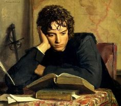A skillful manipulation of Ferdinand Heilbuth's  The Reader to add Frodo's face to it. http://mechtild.livejournal.com/111215.html