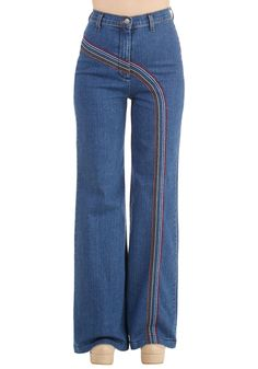 Rainbow with Me Jeans. Take a spin around the roller rink in these rainbow-adorned, vintage-inspired jeans, found exclusively at ModCloth! #blue #modcloth
