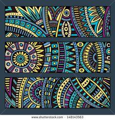 Illustration of Abstract decorative vector ethnic pattern cards set vector art, clipart and stock vectors. Mandala Art, Mandala Design, Arte Tribal, Tribal Art, Kunst Der Aborigines, Kunstjournal Inspiration, Art Premier, Ethnic Patterns, African Patterns