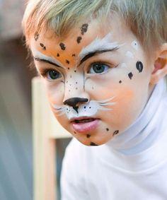 leopard schminken gesicht kinder fasching