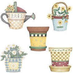Garden Poles, Country Paintings, Primitive Crafts, Decoupage, Planter Pots, Sweet Home, Clip Art, Scrapbook, Watercolor
