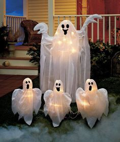 Lighted Ghosts Yard Stakes 4 FT GHOST OR SET OF 3 GHOST STAKES HALLOWEEN DECOR #Imported