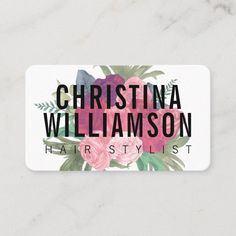 Modern white bold text blush pink vintage florals business card High Quality Business Cards, Salon Business Cards, Hairstylist Business Cards, Unique Business Cards, Business Card Design, Kylie Jenner Pink Hair, Strawberry Red Hair, Hair Stylist Gifts, Hair Stylists