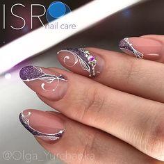 french nails tips Salons Classy Nails, Fancy Nails, Trendy Nails, Nail Manicure, Gel Nails, Nail Polish, Purple Nail Designs, Nail Art Designs, Nails Design