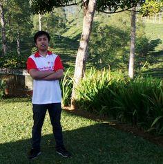 In front of tea garden field, Pagilaran, Central Java