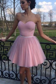 A Line Homecoming Dress, Junior Party Dress, Short Homecoming Dress,Pink Cheap Homecoming Dresses #homecomingdresses