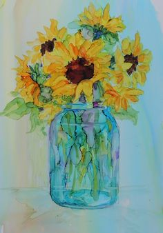 Original alcohol ink on yupo painting by Carolyn Opderbeck Sunflowers in a Ball Jar
