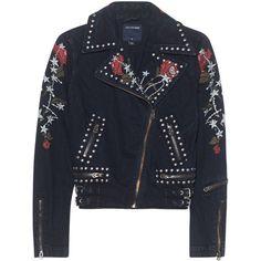 TRUE RELIGION Moto Jacket Crow Black // Denim jacket with embroidery (£345) ❤ liked on Polyvore featuring outerwear, jackets, slim denim jacket, embroidered jean jacket, embroidered jacket, motorcycle jacket and studded denim jacket