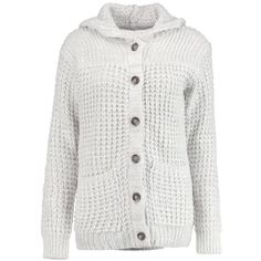 Boohoo Isabella Hooded Chunky Cardigan   Boohoo (€33) ❤ liked on Polyvore featuring tops, cardigans, cardigan top, white cardigan, chunky cardigan, white top and hooded top