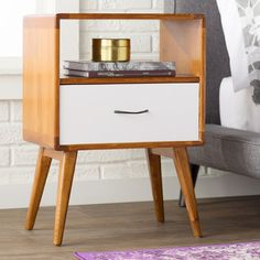 Mercury Row Collado Solid Wood 1 Drawer End Table with Storage Color: White Modern End Tables, Wood End Tables, End Tables With Storage, Tall Side Table, Side Tables, Painted Drawers, Night Table, Affordable Furniture, New Room