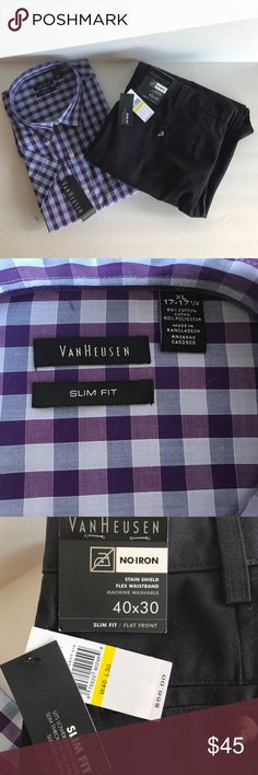 Men's Van Heusen Complete Outift *will separate Men's Van Heusen Complete Outift *will separate , Shirt is size XL (17-17 1/2) Purple and Blue plaid, short sleeves, Wrinkle Free. Brand New With Tags. Pants are 40x30, flat front, slim fit, no iron, Navy, Flex waistband. Brand New With Tags. Perfect for gifting! Smoke Free Home Van Heusen Other