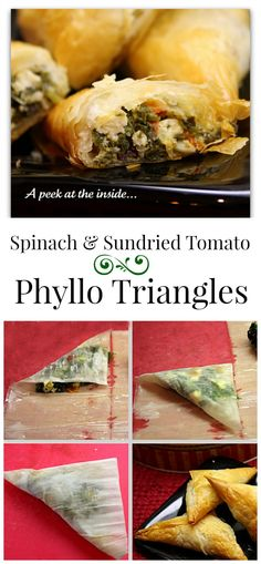Spinach and Sun-dried Tomato Filled Phyllo Triangle appetizers recipe.don't like tomatoes but would be so good with spinach dip inside Phyllo Recipes, Appetizer Recipes, Phillo Pastry Recipes, Vegetarian Recipes, Cooking Recipes, Healthy Recipes, Finger Food Appetizers, Phyllo Appetizers, Healthy Snacks