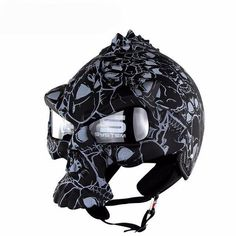 Description GB Quality Certificate Weight: kg ABS composite shell Color: Bright Black / Matte Black /white/black flower Fully washable Skull Motorcycle Helmet, Skull Helmet, Half Helmets, Motorcycle Helmets, Halloween News, Motorbikes, Lens, Darth Vader, Black And White