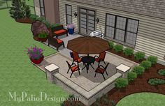 of Outdoor Living x Nice addition for existing patio or porch! Patio surface can be laid with any style of paver. Tumbled block seating wall with 2 columns adds enclosure and seating. Small Patio Design, Small Backyard Patio, Diy Patio, Patio Ideas, Outdoor Ideas, Outdoor Fun, Yard Ideas, Outdoor Landscaping, Outdoor Gardens
