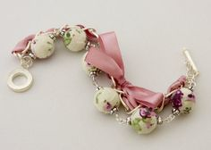 Fabric covered round beads used to make this bracelet