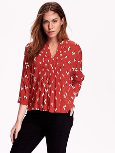 Women's Oversized Pintucked Blouse Product Image