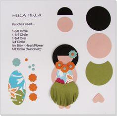 Stampin' Up!  Punch Art   Hula Girl.  For next year's Luau, Kim.