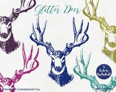 GLITTER DEER CLIPART Commercial Use Clip Art Deer by ClipArtBrat