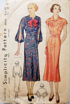 Vintage 1930s Simplicity Misses' Split Sleeve by NostalgiaVintage2, $38.00
