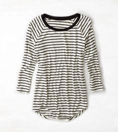 Black AEO Soft & Sexy Striped Baseball T-Shirt
