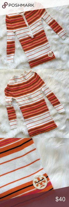 TORY BURCH Long Sleeve Sweater Logo Patch Striped TORY BURCH 1/2 Zip Sweater Size: Small Fabric: 100% Cotton Orange and multicolor Tory Burch sweater with half zip neckline and a white ring zipper pull, single Patent Logo patch detail at front, striped pattern, long sleeve This sweater features horizontal stripes in white, orange, hot pink and dark navy blue. It is a very flattering length (longer in the torso area) Excellent preowned condition no stains, rips, holes, snags or…