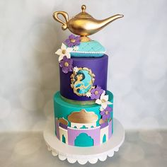 "Honey Bee Cakes on Instagram: ""Princess Jasmine Cake"" Jasmine Birthday Cake, Aladdin Birthday Party, Jasmine Party, Birthday Parties, Bee Cakes, Girl Cakes, Princess Jasmine Cake, Princess Cakes, Disney Princess"