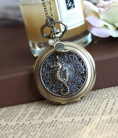 Dreaming of The Sea - A Large Art Nouveau Pocket Watch, Sea Horse, Clam and Freshwater Pearl Long Necklace.