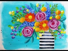 Easy to Paint Daisies & Roses Boho Flower Vase | Free YouTube Live Stream Video Acrylic Painting Tutorial by Angela Anderson | How To Paint Impressionist Flowers Daisy Rose | #CACFlowerArt | angelafineart on YouTube | Floral Beginner Painting Instruction