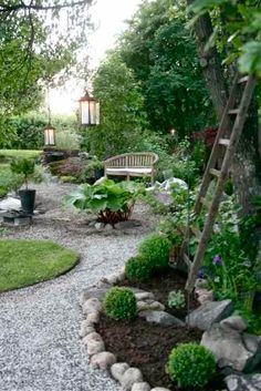 Beautiful Landscaping and Gravel path.