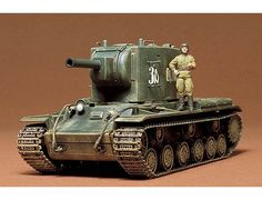 The Tamiya KV-II Gigant in 1/35 scale from the plastic car model range accurately recreates the real life Russian heavy tank used during World War II.