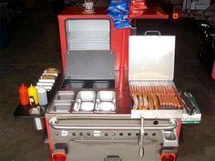 Great starter hot dog cart! Food Cart Design, Food Truck Design, Hot Dog Wagen, Mobile Restaurant, Restaurant Kitchen, Food Cart Business, Hot Dogs, Coney Dog, Bike Food