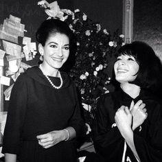 Maria Callas with Juliette Greco.