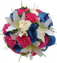 Blue Orchid, Ivory Lily, Cerise &  Ivory Rose Wedding Bouquet