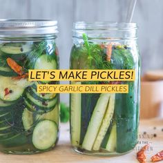 Garlic Dill Pickles -Homemade Spicy Garlic Dill Pickles Recipe - Try making your own homemade garlic dill pickles with this easy refrigerator method – no canning r - Garlic Dill Pickles, Canning Dill Pickles, Zucchini Pickles, Pickled Garlic, Jar Of Pickles, Refrigerator Dill Pickles, Pickled Zucchini, Pickled Celery, Refrigerator Pickle Recipes